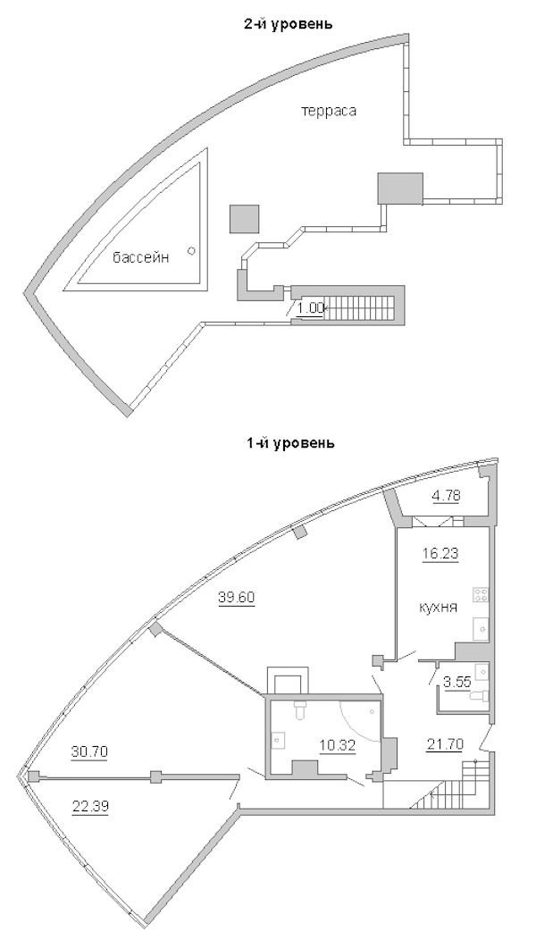 3-комнатная 151 м<sup>2</sup> на 16 этаже