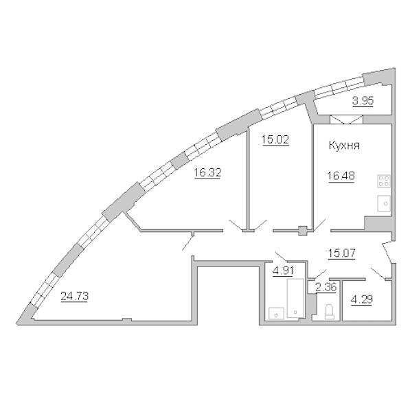 3-комнатная 103 м<sup>2</sup> на 4 этаже