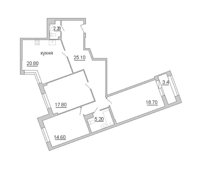 3-комнатная 105 м<sup>2</sup> на 7 этаже