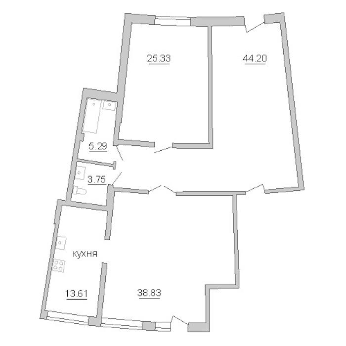 2-комнатная 131 м<sup>2</sup> на 1 этаже
