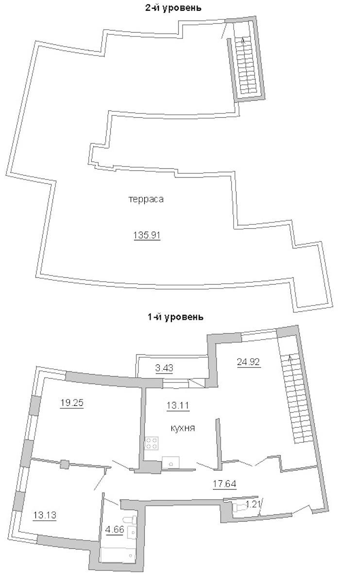 3-комнатная 139 м<sup>2</sup> на 11 этаже