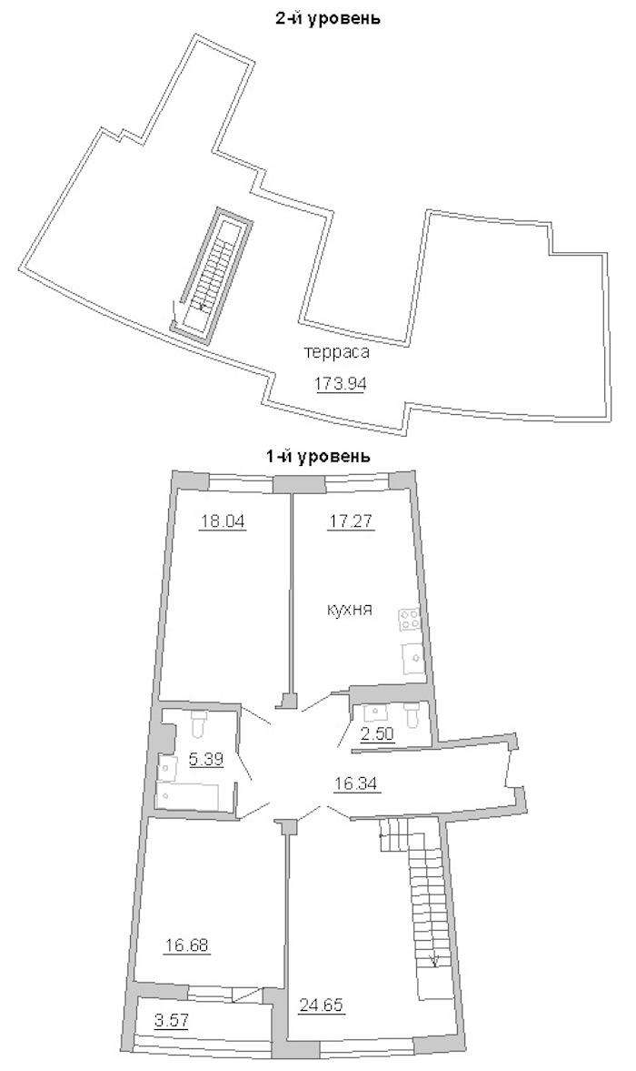 3-комнатная 155 м<sup>2</sup> на 11 этаже