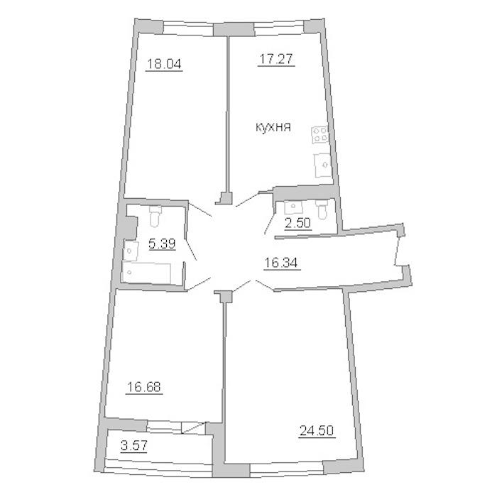 3-комнатная 103 м<sup>2</sup> на 8 этаже