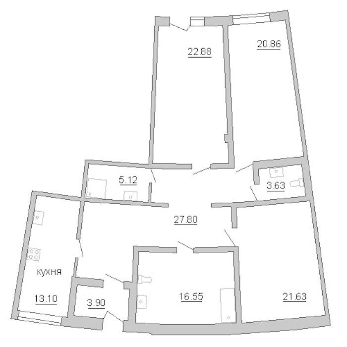 2-комнатная 136 м<sup>2</sup> на 1 этаже