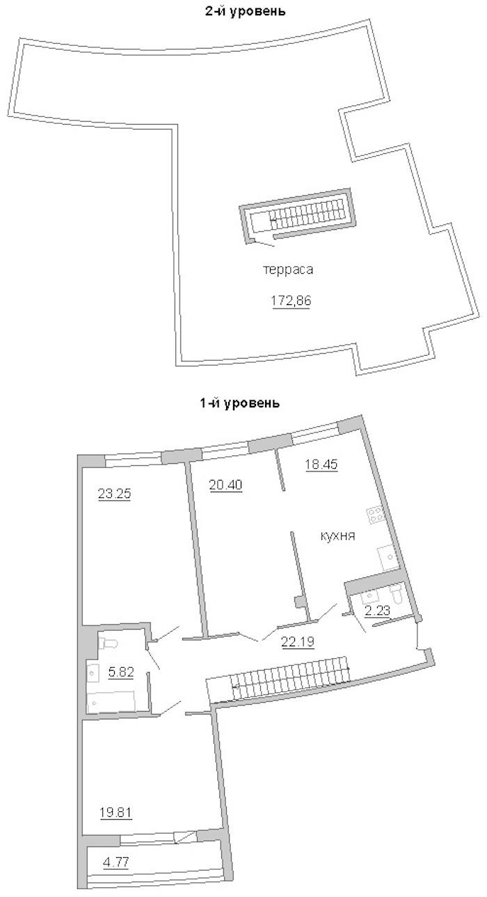 3-комнатная 168 м<sup>2</sup> на 11 этаже
