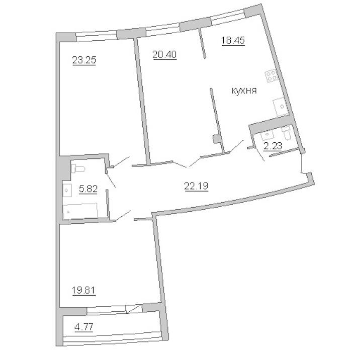3-комнатная 115 м<sup>2</sup> на 6 этаже