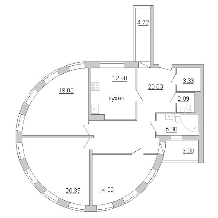 3-комнатная 109 м<sup>2</sup> на 6 этаже