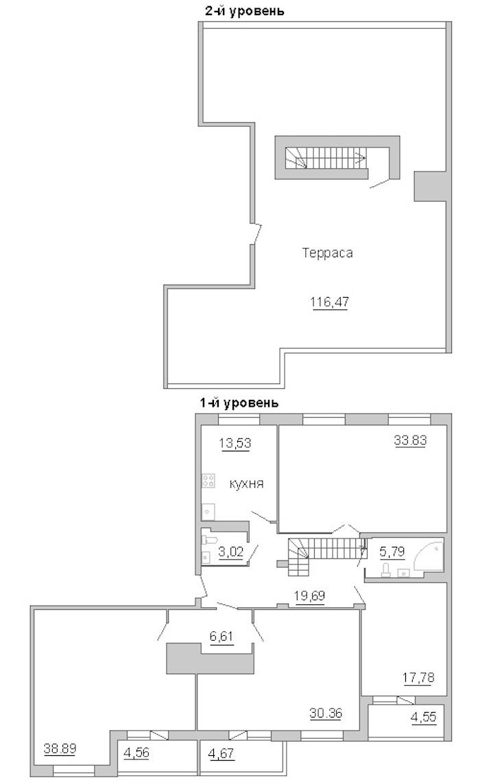 4-комнатная 228 м<sup>2</sup> на 11 этаже
