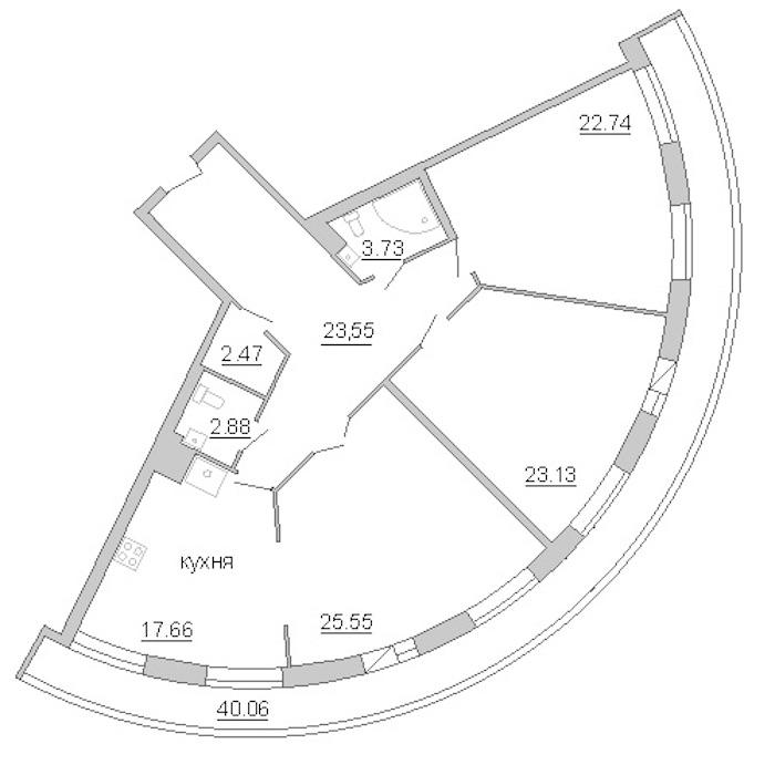 3-комнатная 160 м<sup>2</sup> на 10 этаже