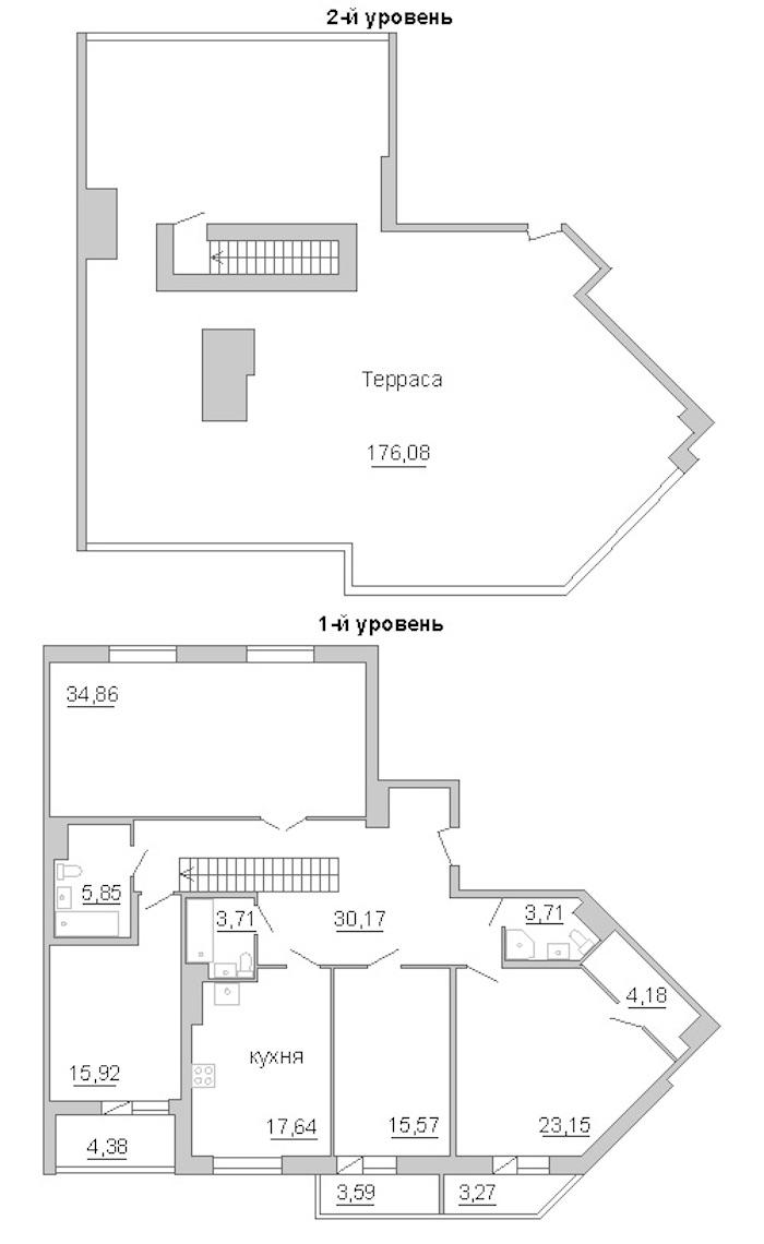 4-комнатная 222 м<sup>2</sup> на 11 этаже