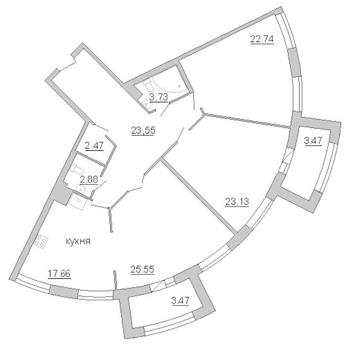 3-комнатная 129 м<sup>2</sup> на 4 этаже