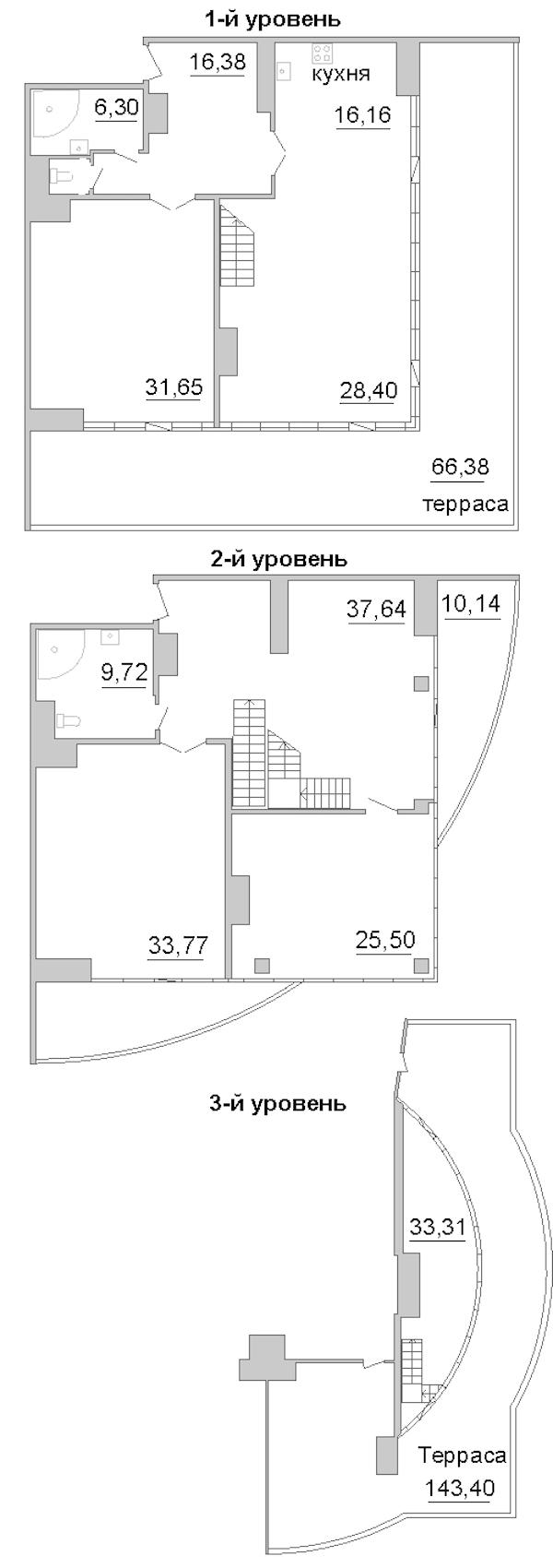 3-комнатная 323 м<sup>2</sup> на 18 этаже