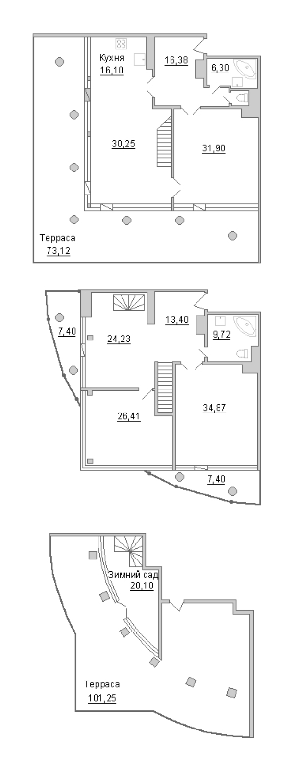 4-комнатная 287 м<sup>2</sup> на 18 этаже