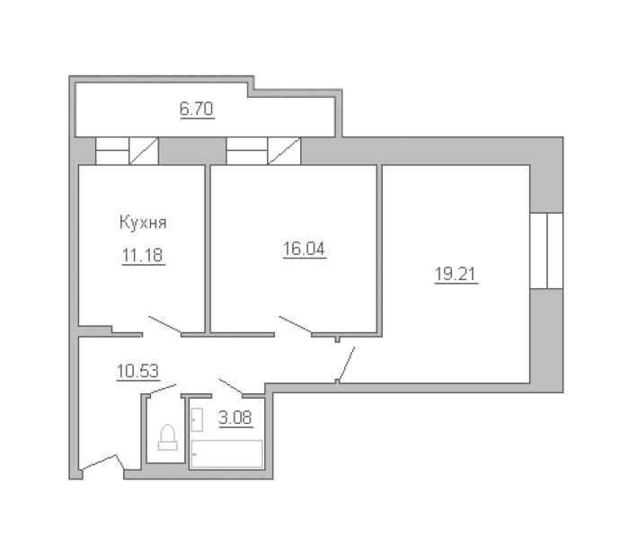 2-комнатная 68 м<sup>2</sup> на 11 этаже