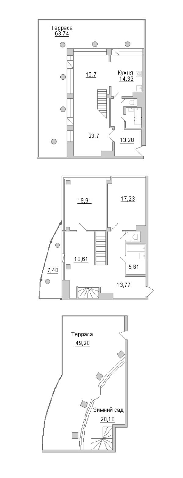 3-комнатная 257 м<sup>2</sup> на 18 этаже
