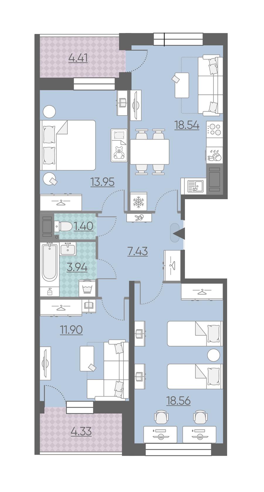 3-комнатная 80 м<sup>2</sup> на 14 этаже