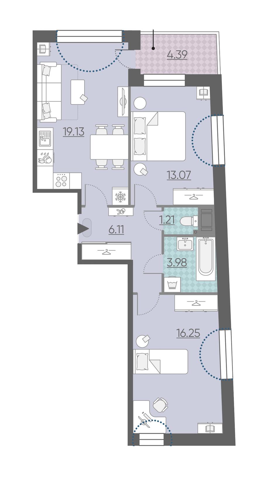 2-комнатная 61 м<sup>2</sup> на 5 этаже