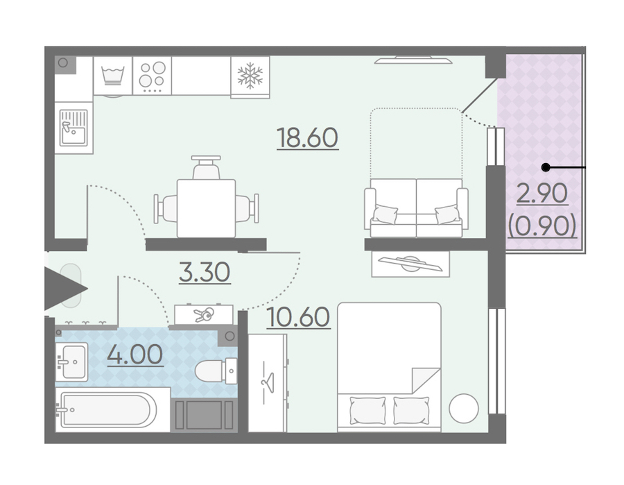 1-комнатная 37 м<sup>2</sup> на 20 этаже