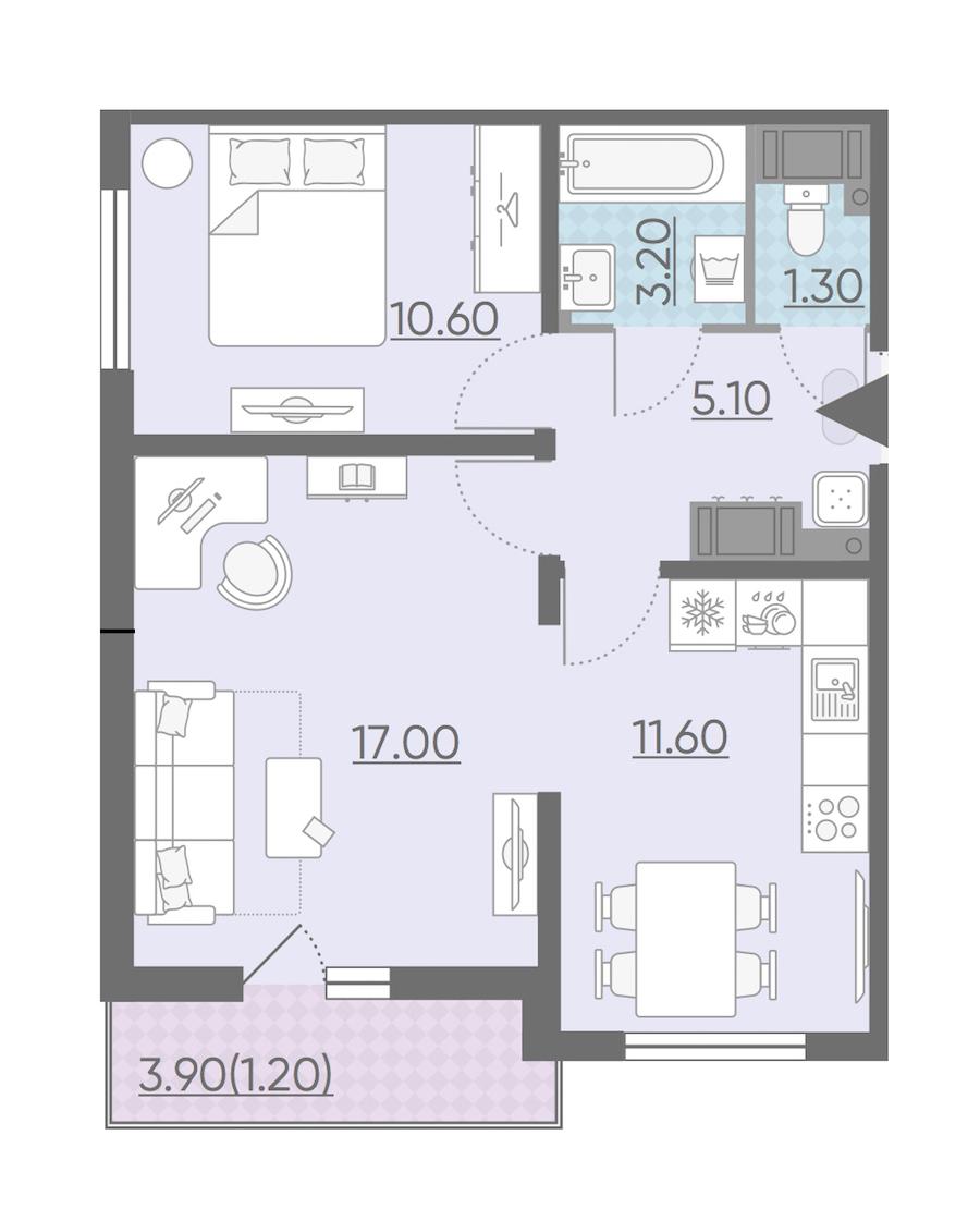 2-комнатная 50 м<sup>2</sup> на 20 этаже