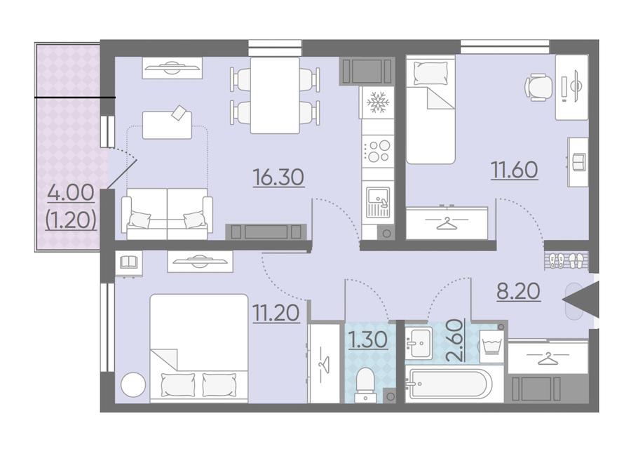 2-комнатная 52 м<sup>2</sup> на 23 этаже