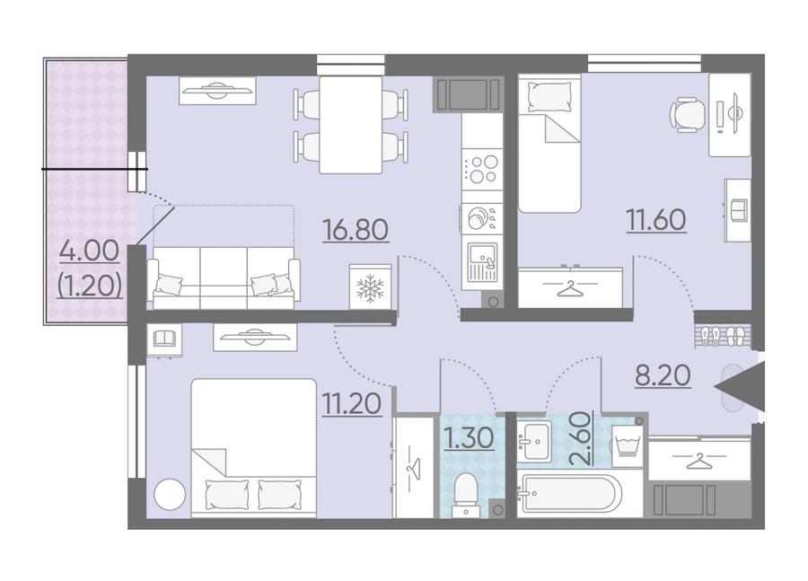 2-комнатная 52 м<sup>2</sup> на 19 этаже