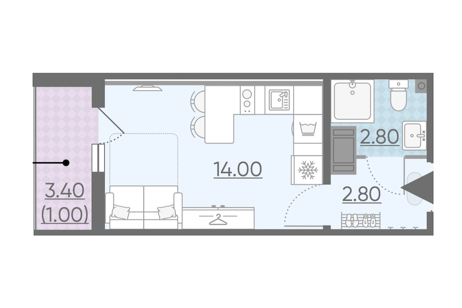 Студия 20 м<sup>2</sup> на 19 этаже