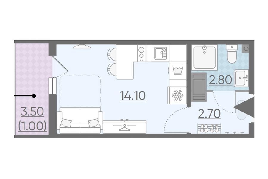 Студия 20 м<sup>2</sup> на 3 этаже