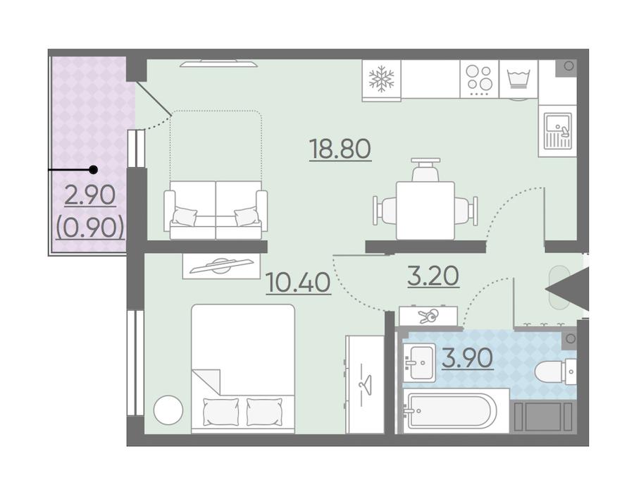 1-комнатная 37 м<sup>2</sup> на 5 этаже
