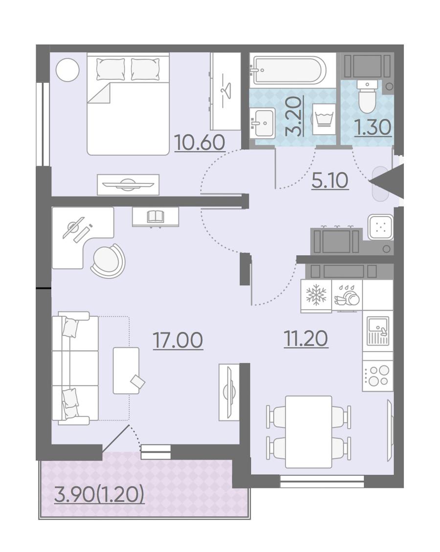 2-комнатная 49 м<sup>2</sup> на 23 этаже