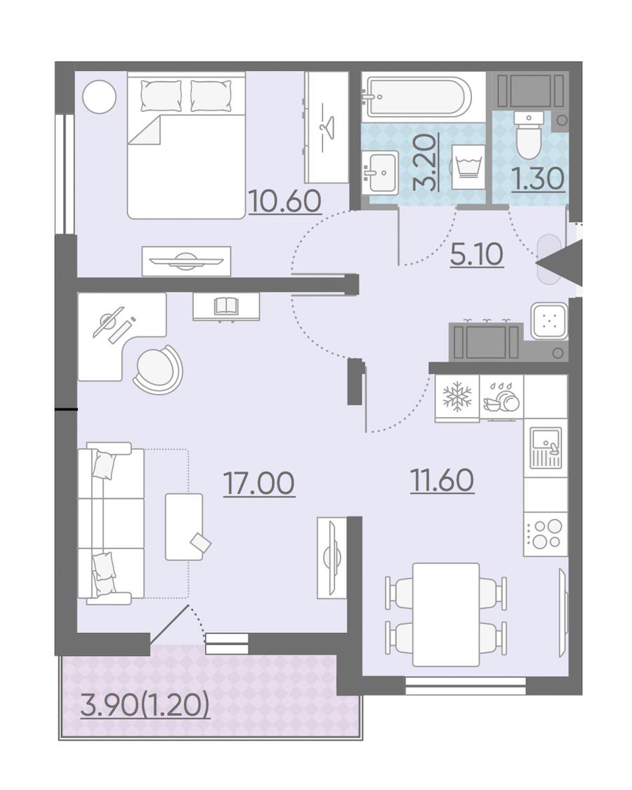2-комнатная 50 м<sup>2</sup> на 13 этаже