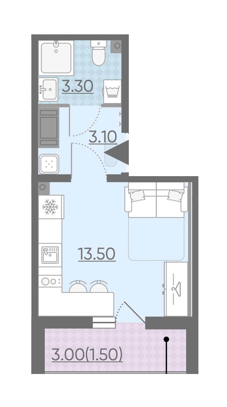 Студия 21 м<sup>2</sup> на 19 этаже