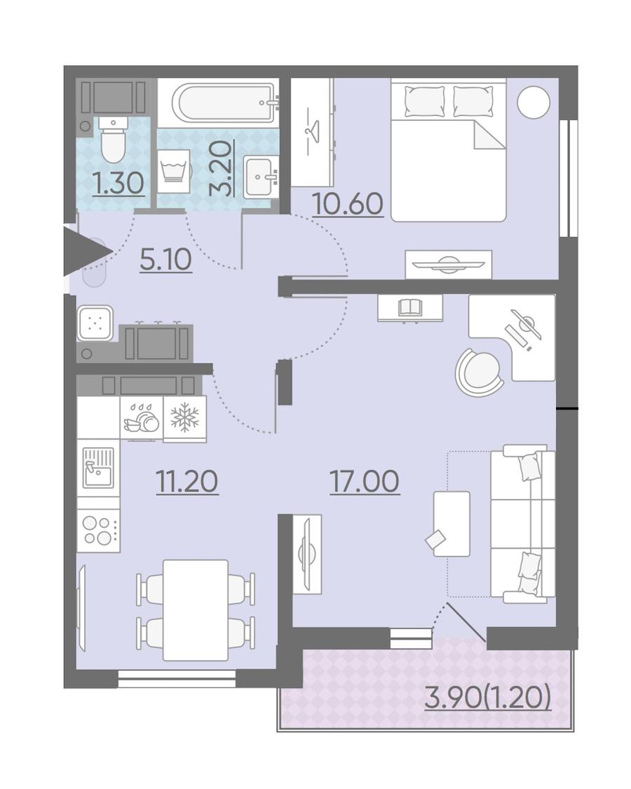 2-комнатная 49 м<sup>2</sup> на 24 этаже