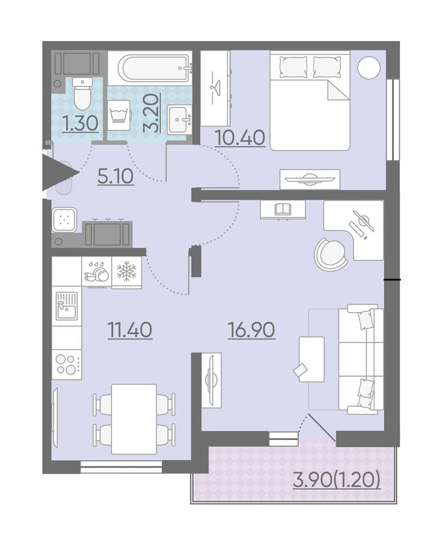 2-комнатная 49 м<sup>2</sup> на 6 этаже