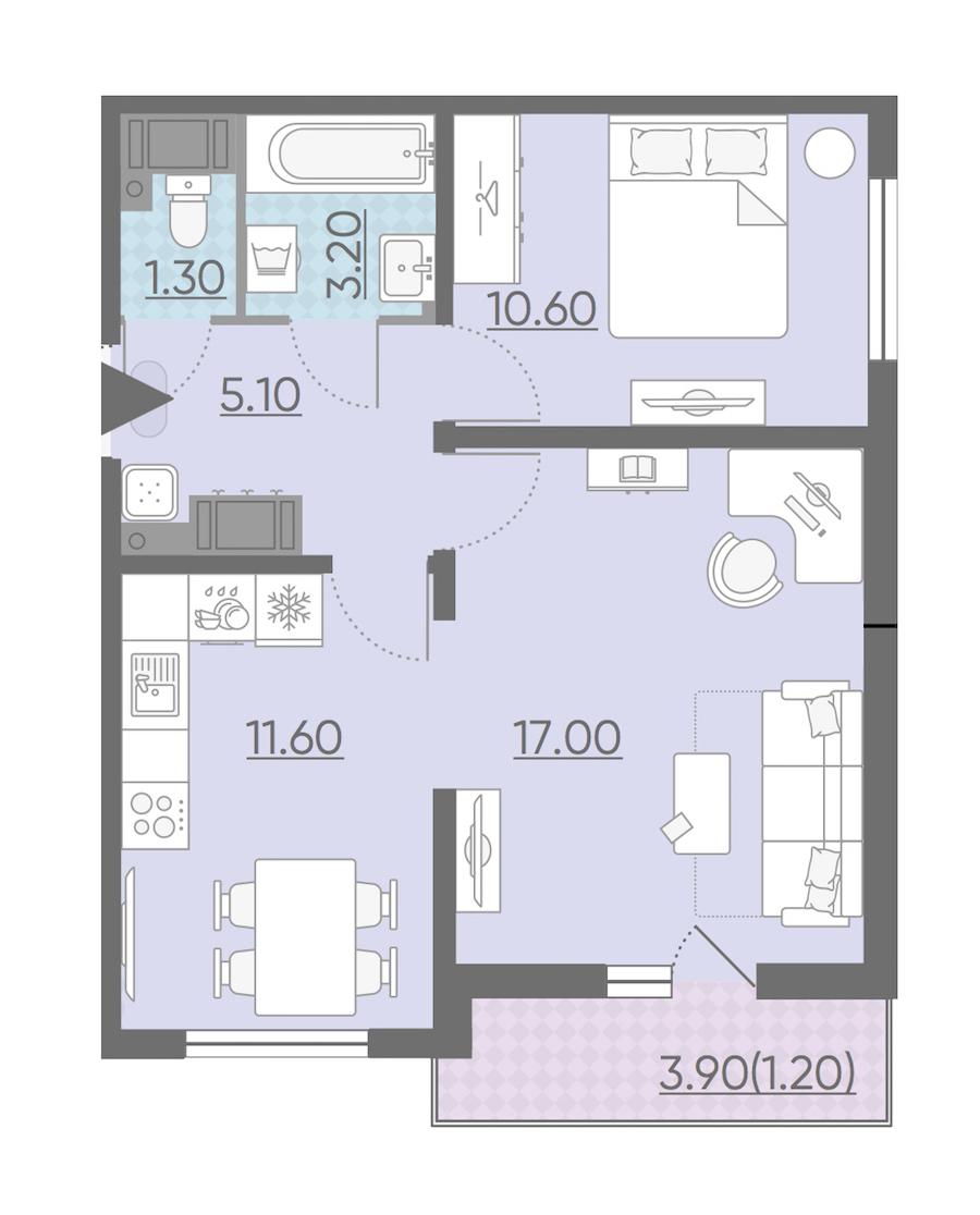 2-комнатная 50 м<sup>2</sup> на 14 этаже