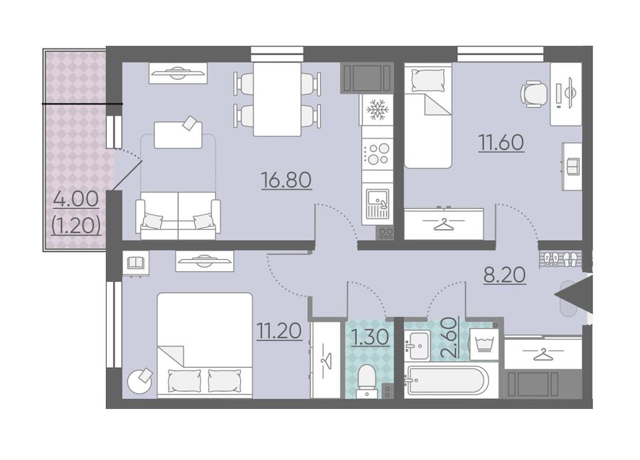 2-комнатная 52 м<sup>2</sup> на 21 этаже