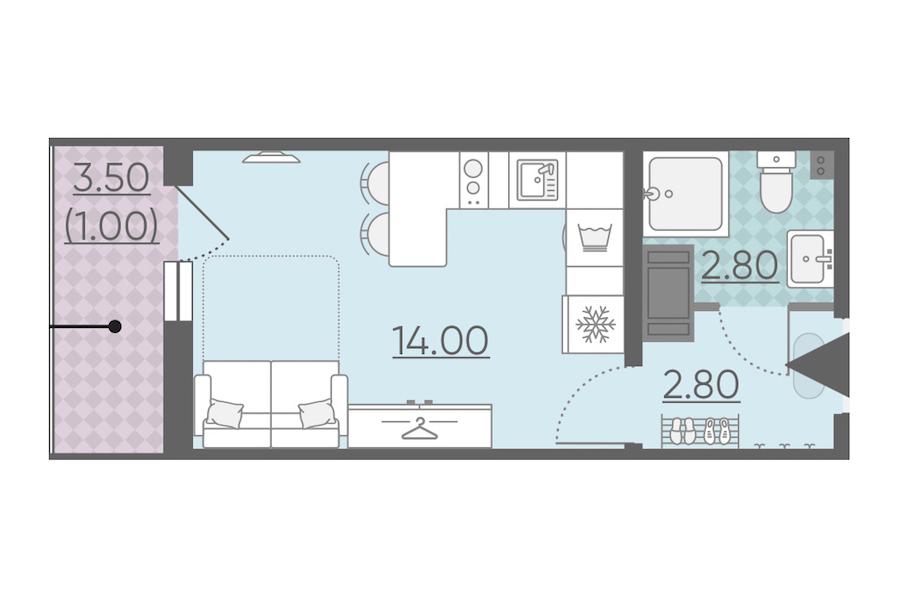 Студия 20 м<sup>2</sup> на 20 этаже