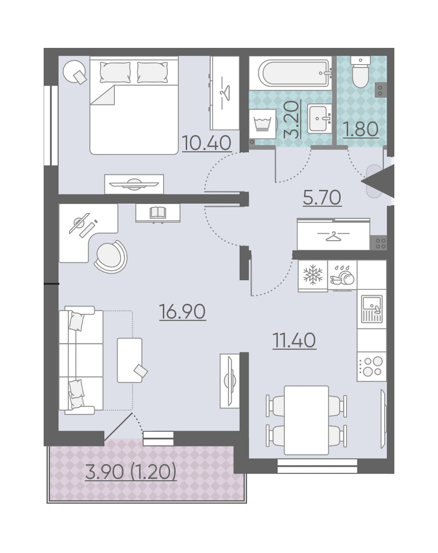 2-комнатная 50 м<sup>2</sup> на 2 этаже