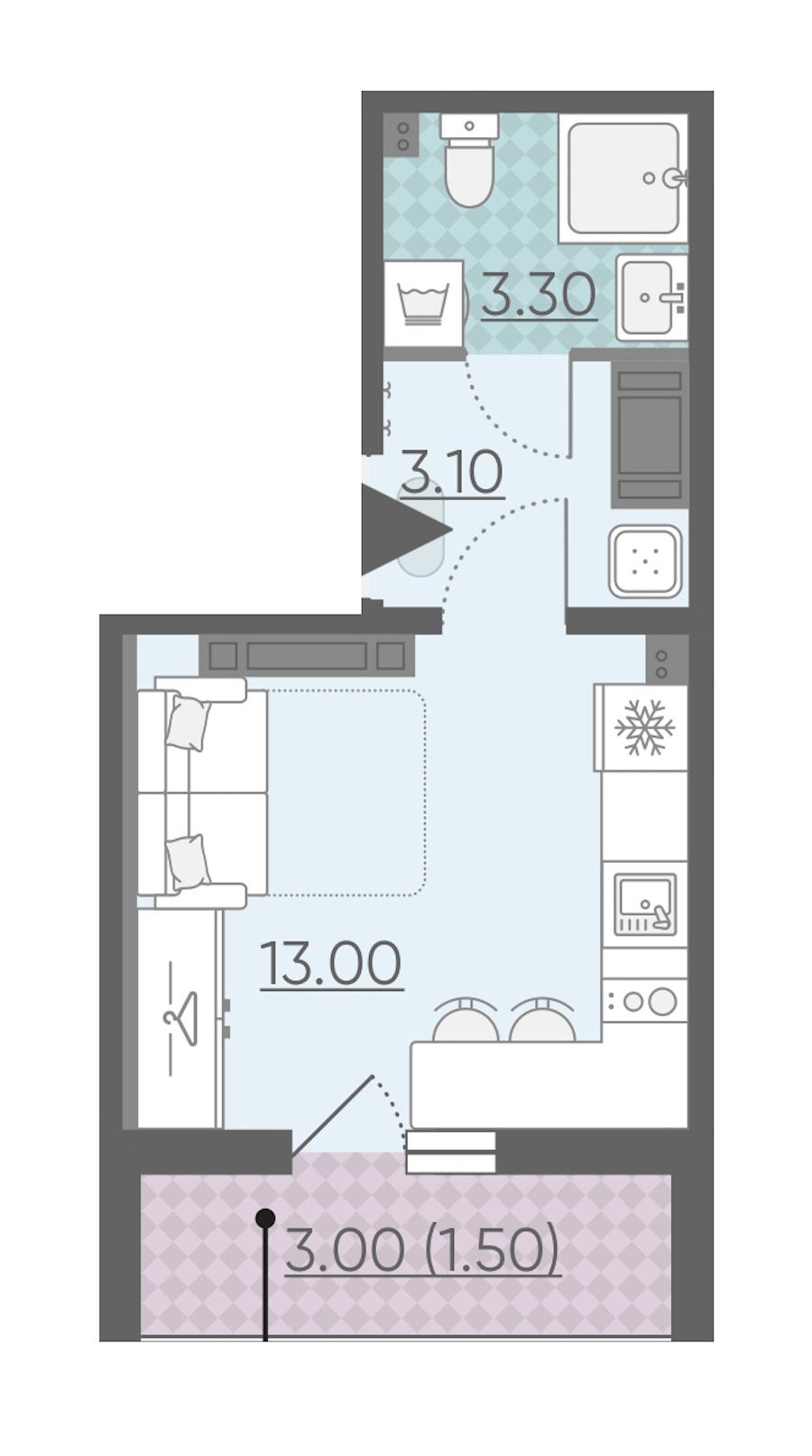 Студия 20 м<sup>2</sup> на 21 этаже