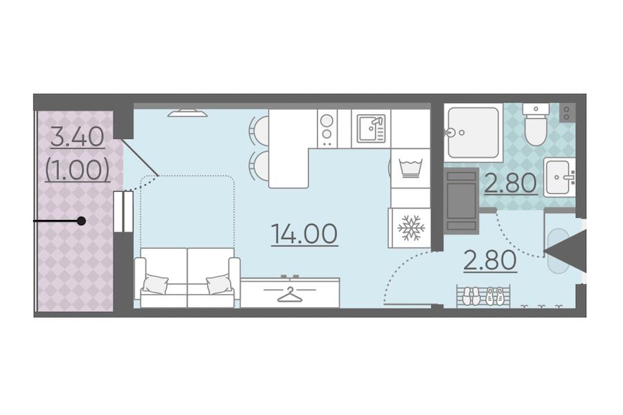 Студия 20 м<sup>2</sup> на 13 этаже