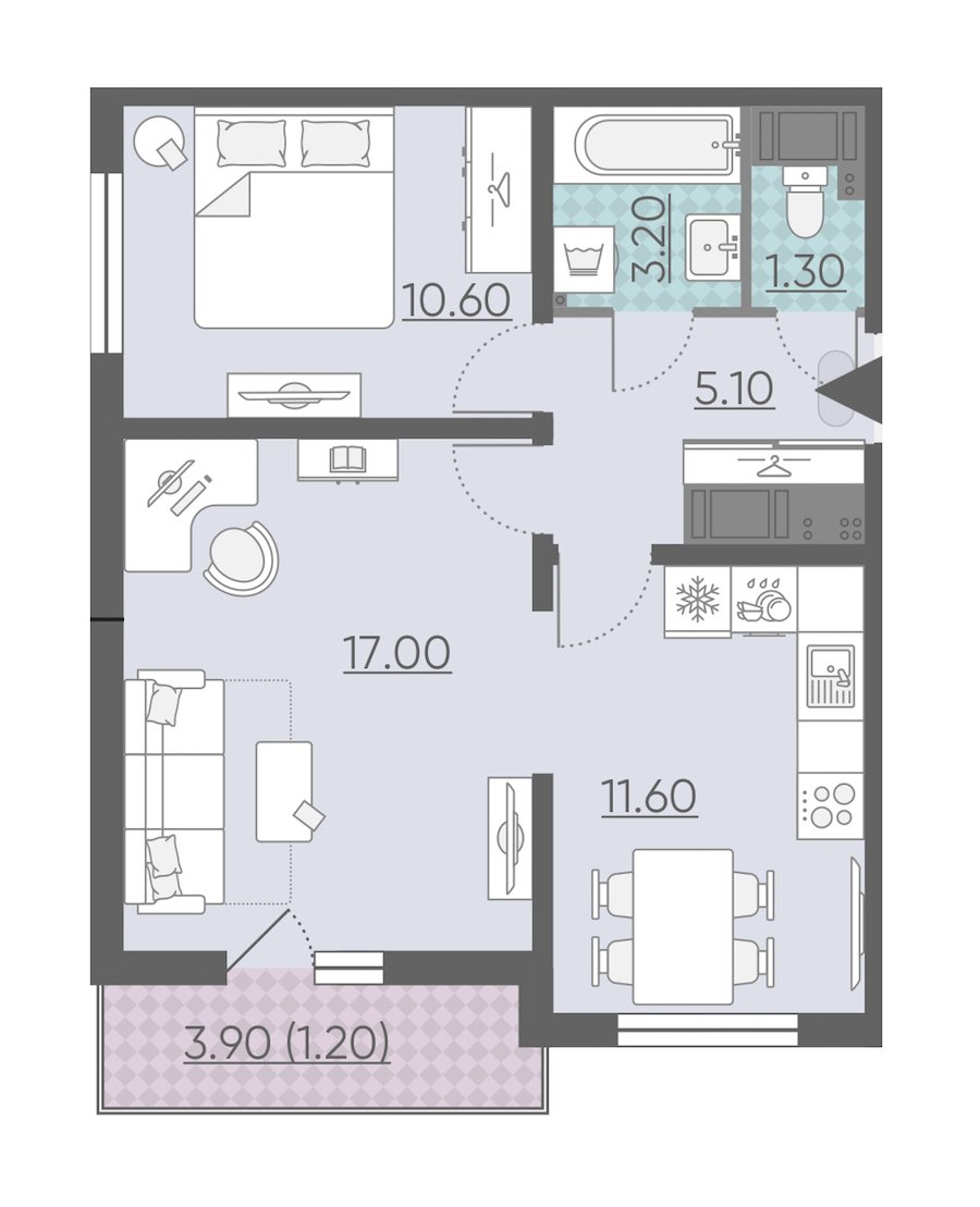 2-комнатная 50 м<sup>2</sup> на 18 этаже