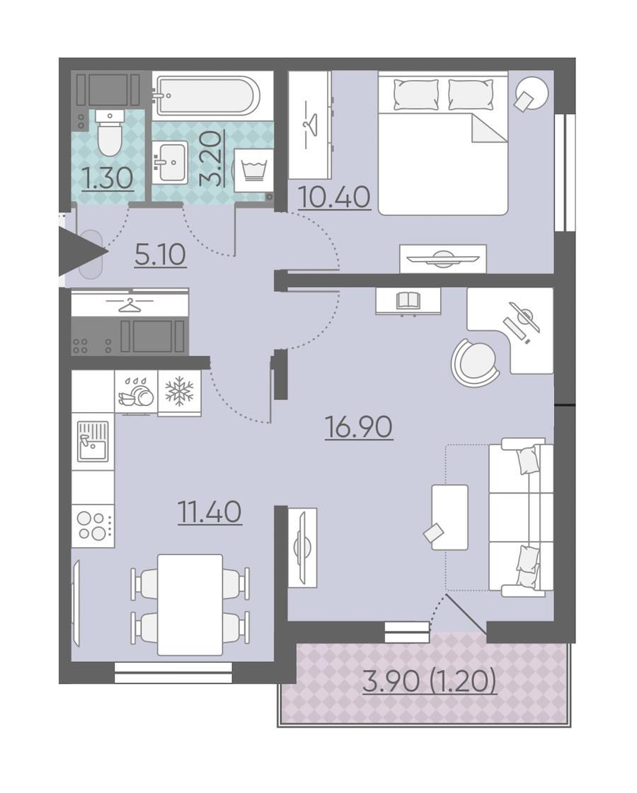 2-комнатная 49 м<sup>2</sup> на 8 этаже