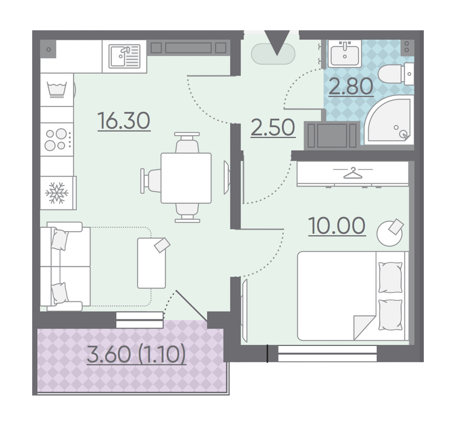 1-комнатная 32 м<sup>2</sup> на 13 этаже