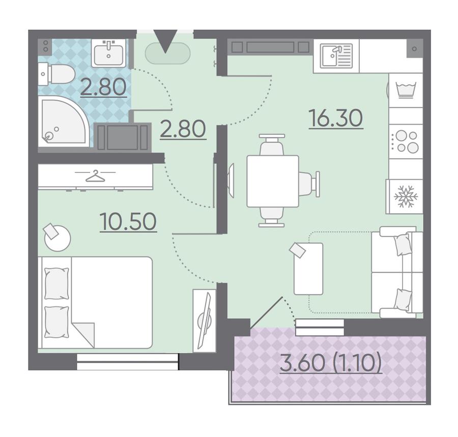 1-комнатная 33 м<sup>2</sup> на 14 этаже
