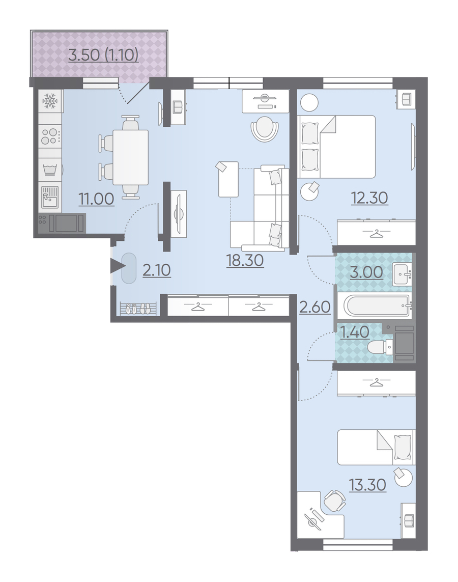 3-комнатная 65 м<sup>2</sup> на 14 этаже