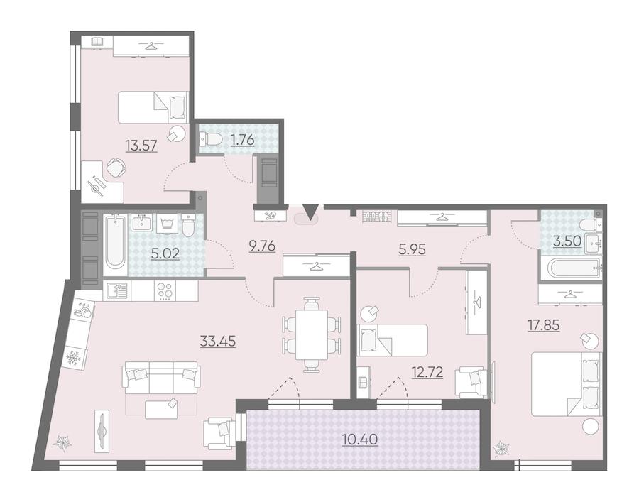 3-комнатная 108 м<sup>2</sup> на 12 этаже