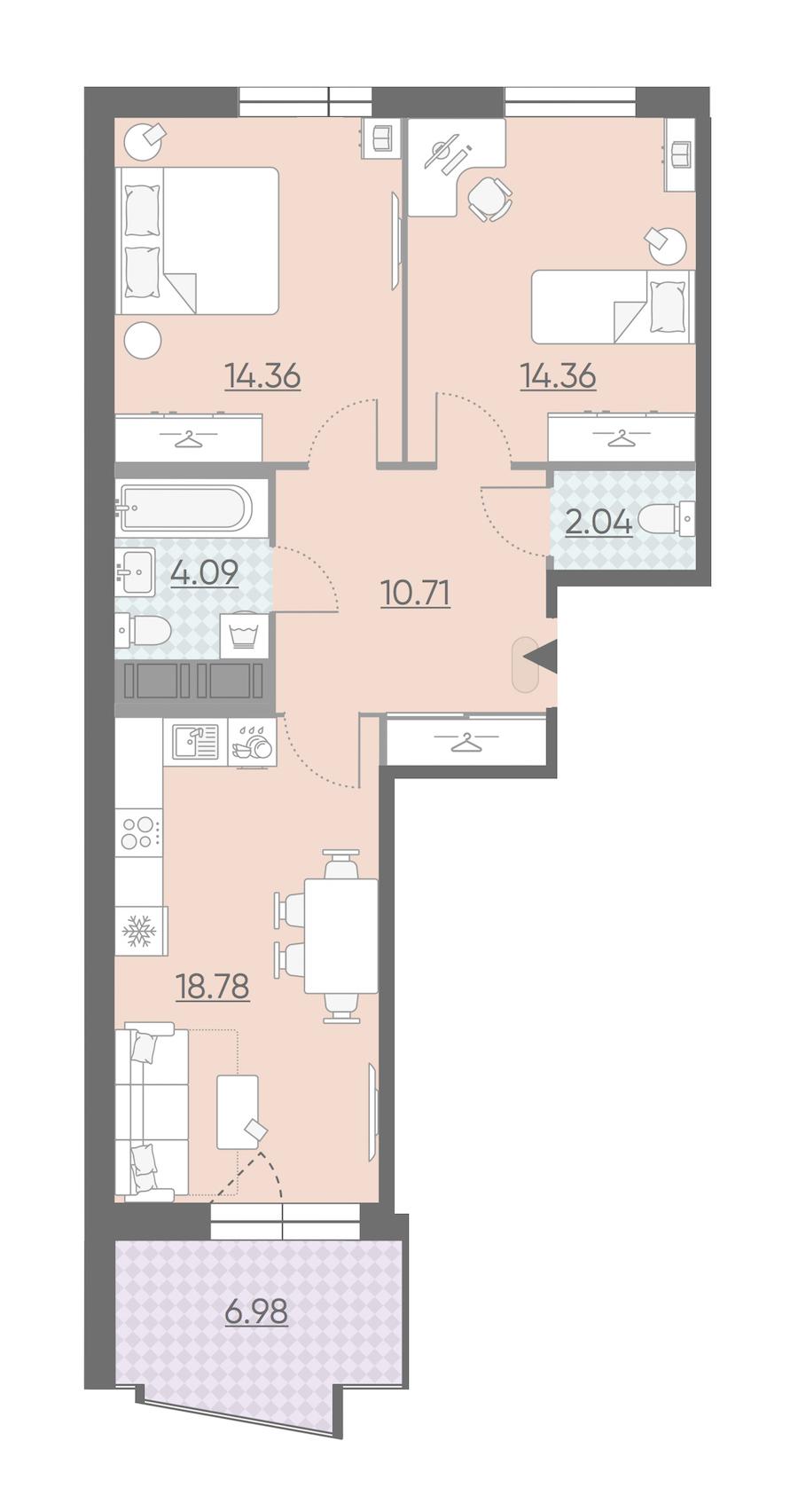2-комнатная 67 м<sup>2</sup> на 11 этаже