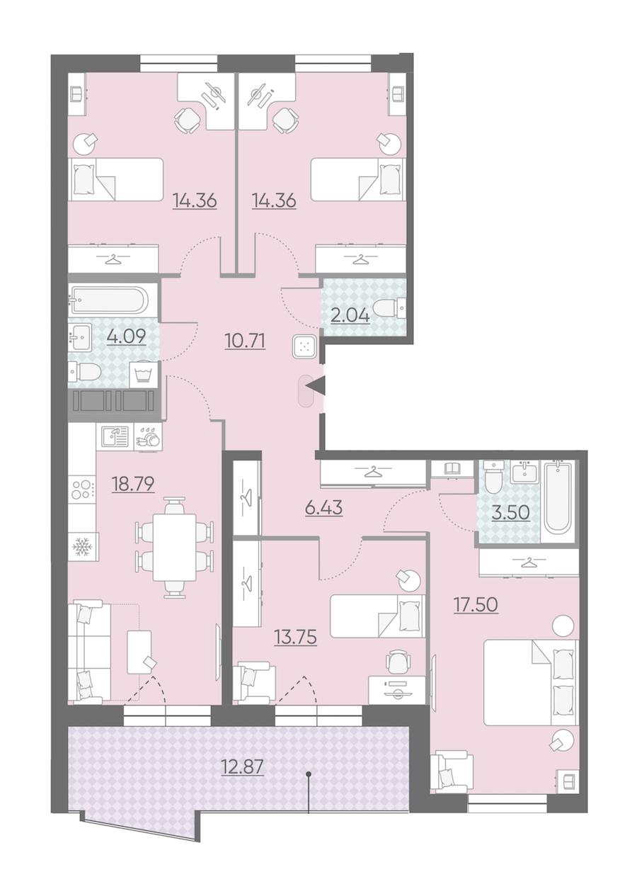 4-комнатная 111 м<sup>2</sup> на 12 этаже