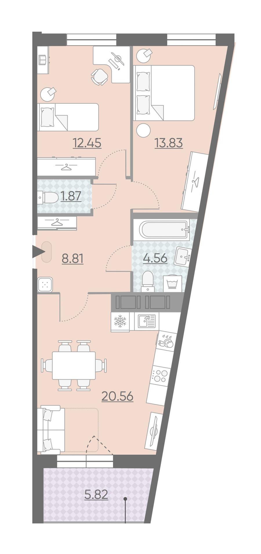 2-комнатная 64 м<sup>2</sup> на 11 этаже