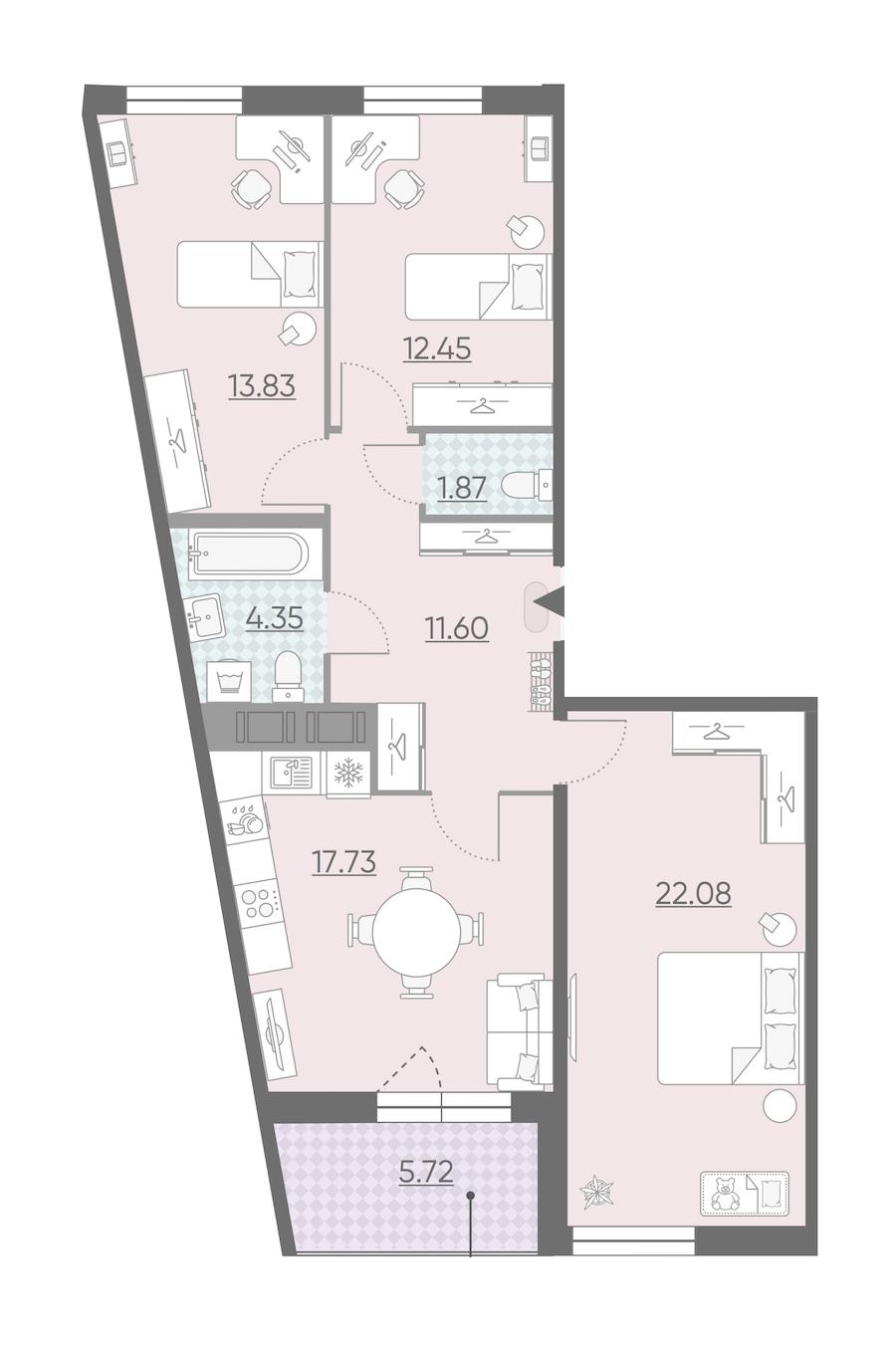 3-комнатная 86 м<sup>2</sup> на 12 этаже
