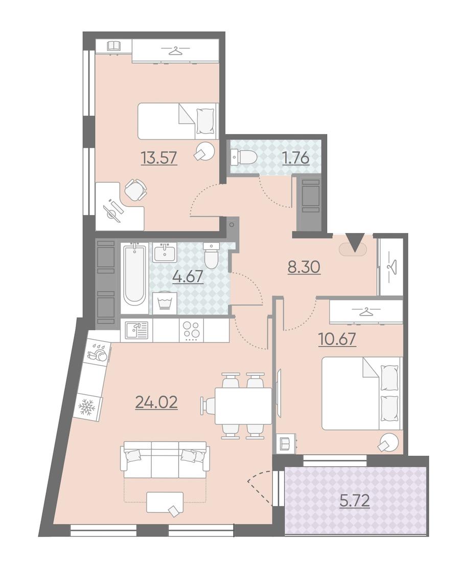 2-комнатная 65 м<sup>2</sup> на 6 этаже
